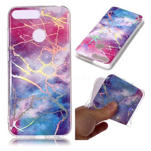 Dream Sky Marble Pattern Bright Color Laser Soft TPU Case for Huawei Y6 (2018)