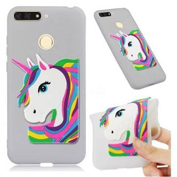 Rainbow Unicorn Soft 3D Silicone Case for Huawei Y6 (2018) - Translucent White