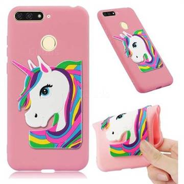 Rainbow Unicorn Soft 3D Silicone Case for Huawei Y6 (2018) - Pink