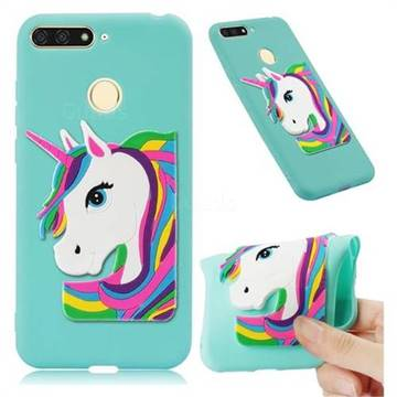 Rainbow Unicorn Soft 3D Silicone Case for Huawei Y6 (2018) - Sky Blue