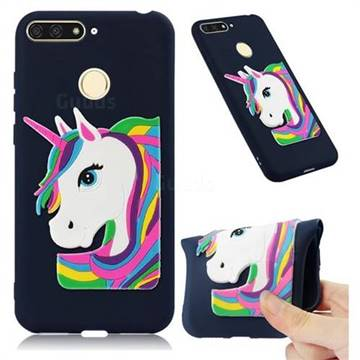 Rainbow Unicorn Soft 3D Silicone Case for Huawei Y6 (2018) - Navy