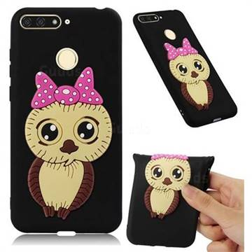 Bowknot Girl Owl Soft 3D Silicone Case for Huawei Y6 (2018) - Black