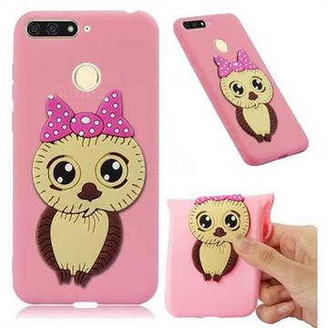 Bowknot Girl Owl Soft 3D Silicone Case for Huawei Y6 (2018) - Pink