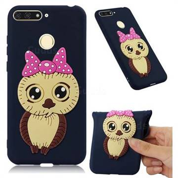 Bowknot Girl Owl Soft 3D Silicone Case for Huawei Y6 (2018) - Navy