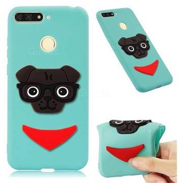 Glasses Dog Soft 3D Silicone Case for Huawei Y6 (2018) - Sky Blue