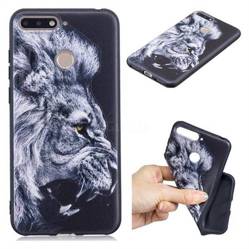 Lion 3D Embossed Relief Black TPU Cell Phone Back Cover for Huawei Y6 (2018)