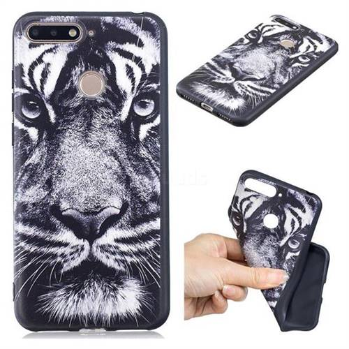 White Tiger 3D Embossed Relief Black TPU Cell Phone Back Cover for Huawei Y6 (2018)