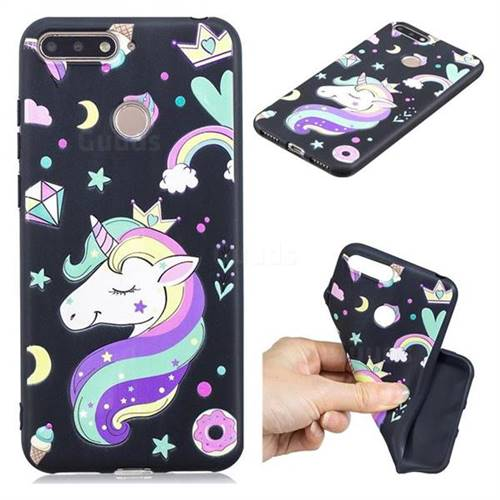 Candy Unicorn 3D Embossed Relief Black TPU Cell Phone Back Cover for Huawei Y6 (2018)