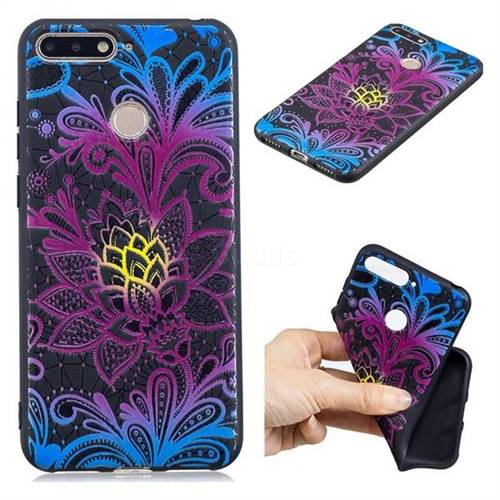 Colorful Lace 3D Embossed Relief Black TPU Cell Phone Back Cover for Huawei Y6 (2018)