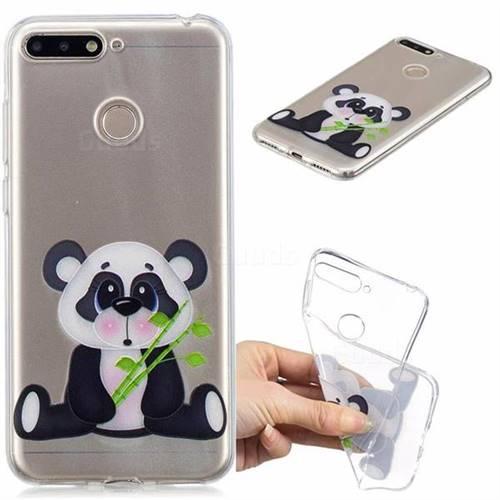 Bamboo Panda Clear Varnish Soft Phone Back Cover for Huawei Y6 (2018)