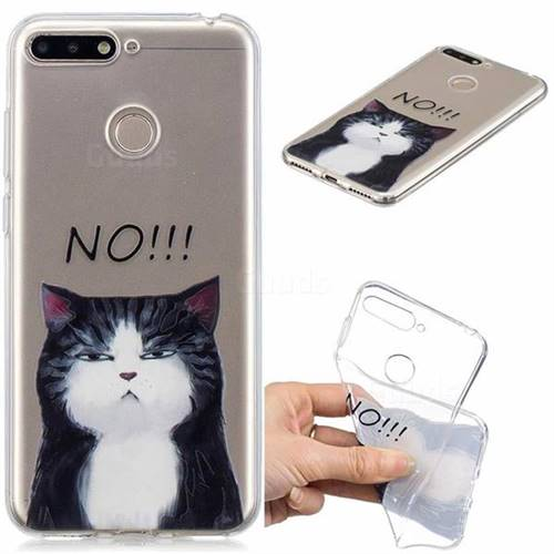 No Cat Clear Varnish Soft Phone Back Cover for Huawei Y6 (2018)
