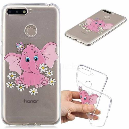 Tiny Pink Elephant Clear Varnish Soft Phone Back Cover for Huawei Y6 (2018)