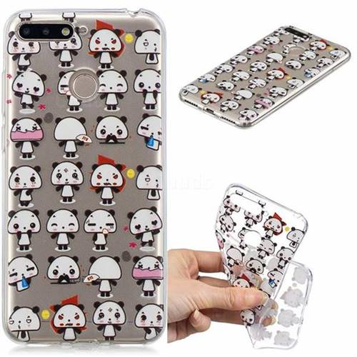 Mini Panda Clear Varnish Soft Phone Back Cover for Huawei Y6 (2018)