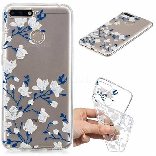 Magnolia Flower Clear Varnish Soft Phone Back Cover for Huawei Y6 (2018)