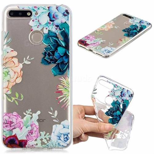 Gem Flower Clear Varnish Soft Phone Back Cover for Huawei Y6 (2018)