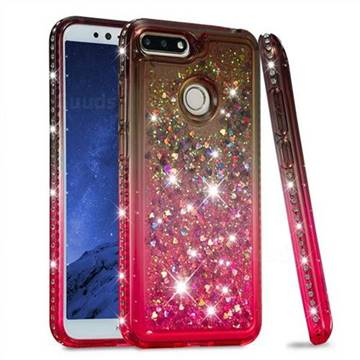 Diamond Frame Liquid Glitter Quicksand Sequins Phone Case for Huawei Y6 (2018) - Gray Pink