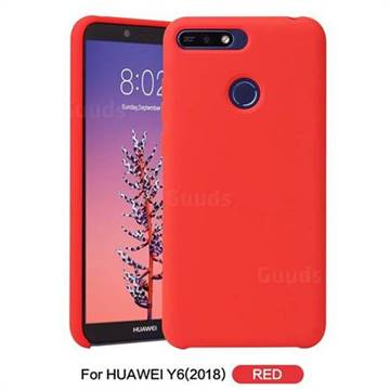 best website 2058b b5ee0 Howmak Slim Liquid Silicone Rubber Shockproof Phone Case Cover for Huawei  Y6 (2018) - Red