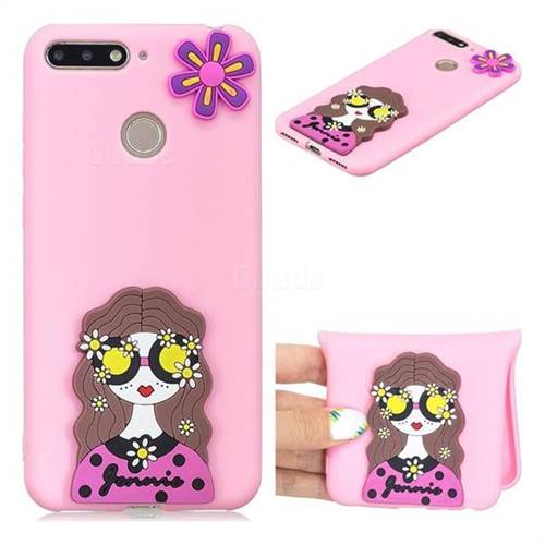 Violet Girl Soft 3D Silicone Case for Huawei Y6 (2018)