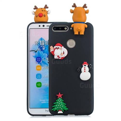 Black Elk Christmas Xmax Soft 3D Silicone Case for Huawei Y6 (2018)