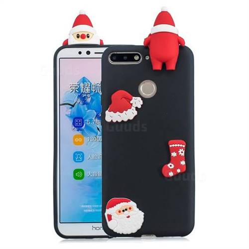 Black Santa Claus Christmas Xmax Soft 3D Silicone Case for Huawei Y6 (2018)
