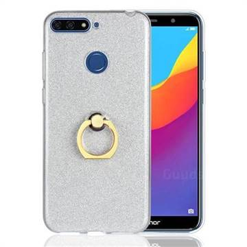 Luxury Soft TPU Glitter Back Ring Cover with 360 Rotate Finger Holder Buckle for Huawei Y6 (2018) - White