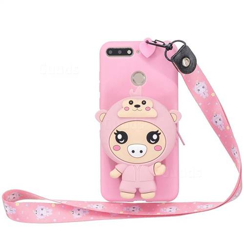 Pink Pig Neck Lanyard Zipper Wallet Silicone Case for Huawei Y6 (2018)