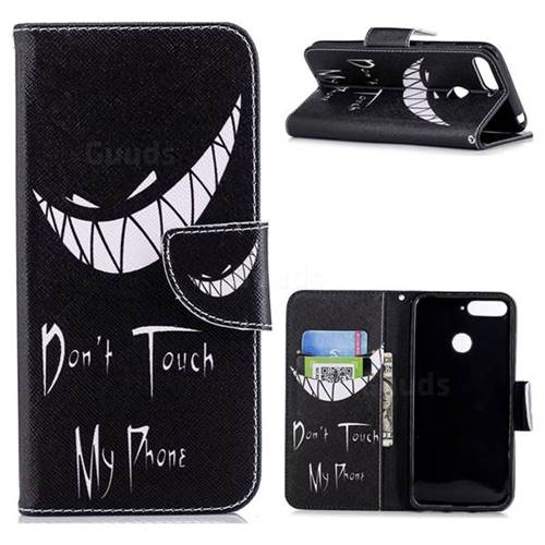 Crooked Grin Leather Wallet Case for Huawei Y6 (2018)