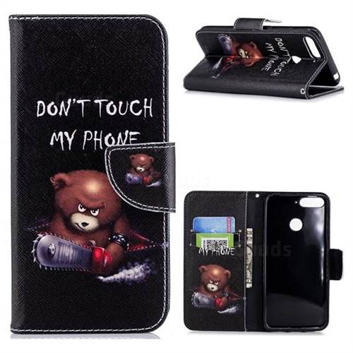 Chainsaw Bear Leather Wallet Case for Huawei Y6 (2018)