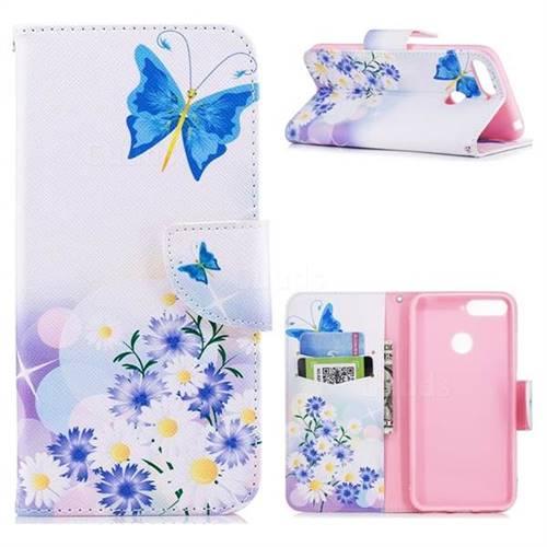 Butterflies Flowers Leather Wallet Case for Huawei Y6 (2018)