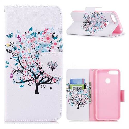 Colorful Tree Leather Wallet Case for Huawei Y6 (2018)