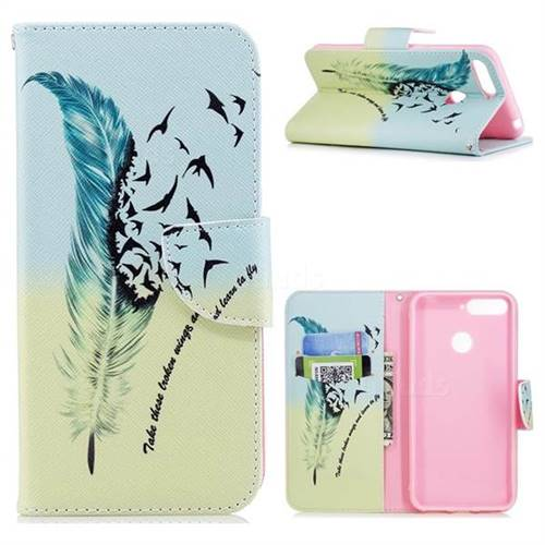 Feather Bird Leather Wallet Case for Huawei Y6 (2018)
