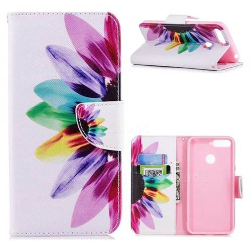 Seven-color Flowers Leather Wallet Case for Huawei Y6 (2018)