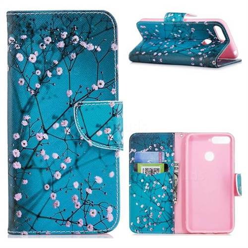 Blue Plum Leather Wallet Case for Huawei Y6 (2018)