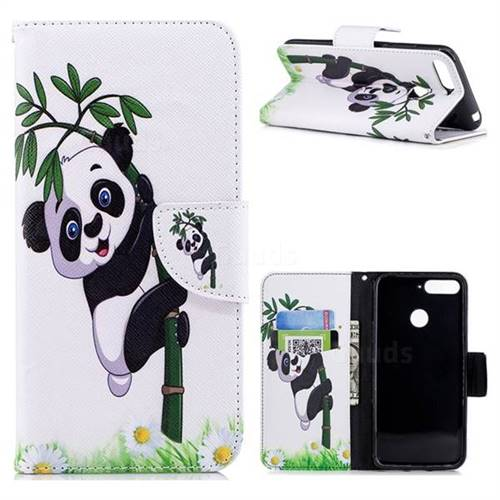 Bamboo Panda Leather Wallet Case for Huawei Y6 (2018)