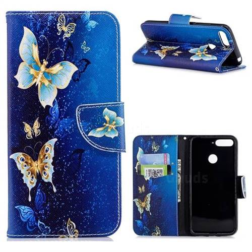 Golden Butterflies Leather Wallet Case for Huawei Y6 (2018)