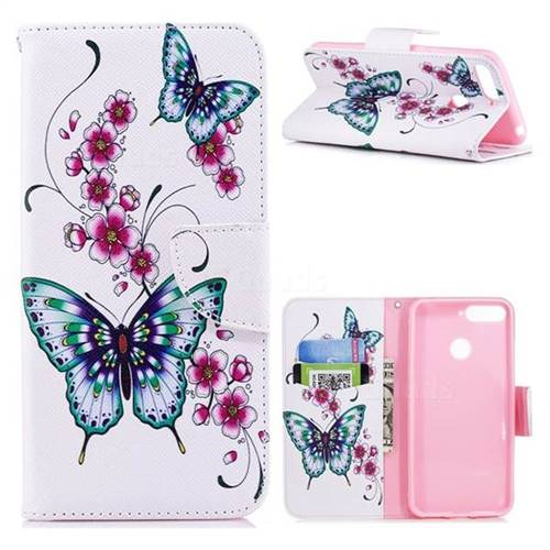 Peach Butterfly Leather Wallet Case for Huawei Y6 (2018)