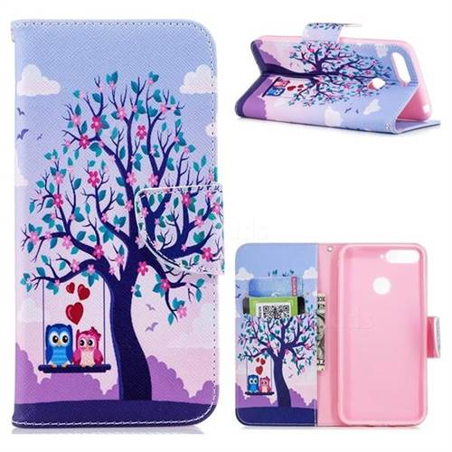 Tree and Owls Leather Wallet Case for Huawei Y6 (2018)