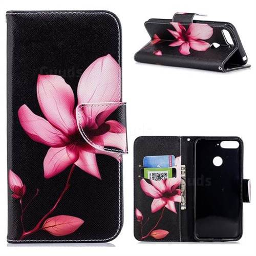 Lotus Flower Leather Wallet Case for Huawei Y6 (2018)