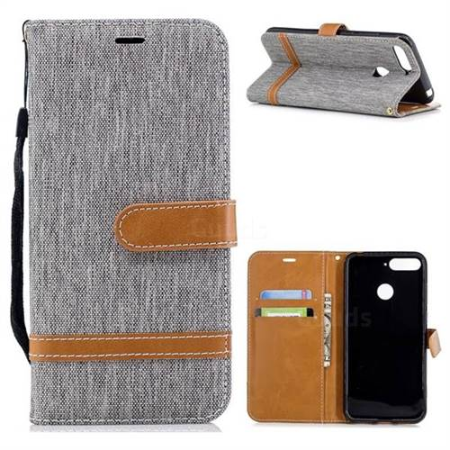 Jeans Cowboy Denim Leather Wallet Case for Huawei Y6 (2018) - Gray
