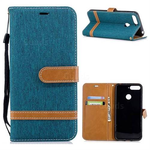 Jeans Cowboy Denim Leather Wallet Case for Huawei Y6 (2018) - Green