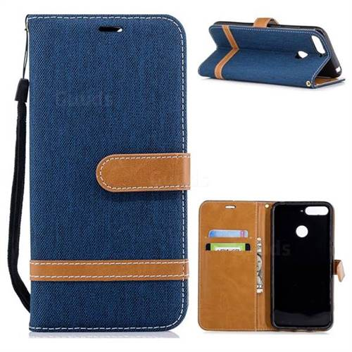 Jeans Cowboy Denim Leather Wallet Case for Huawei Y6 (2018) - Dark Blue