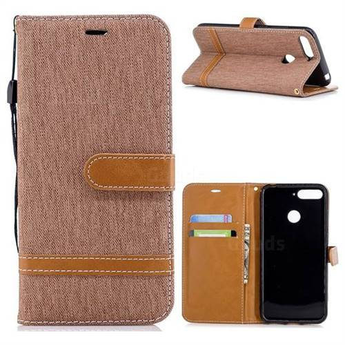 Jeans Cowboy Denim Leather Wallet Case for Huawei Y6 (2018) - Brown