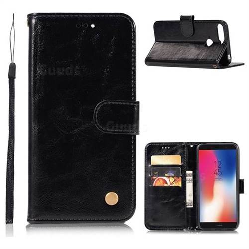Luxury Retro Leather Wallet Case for Huawei Y6 (2018) - Black