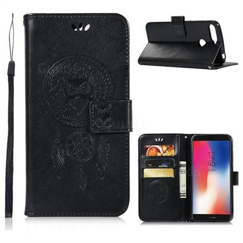 Intricate Embossing Owl Campanula Leather Wallet Case for Huawei Y6 (2018) - Black