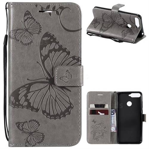 Embossing 3D Butterfly Leather Wallet Case for Huawei Y6 (2018) - Gray