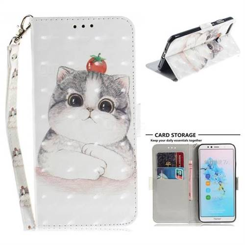 Cute Tomato Cat 3D Painted Leather Wallet Phone Case for Huawei Y6 (2018)
