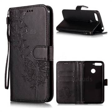 Intricate Embossing Dandelion Butterfly Leather Wallet Case for Huawei Y6 (2018) - Black