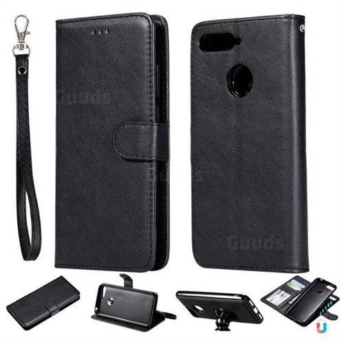 Retro Greek Detachable Magnetic PU Leather Wallet Phone Case for Huawei Y6 (2018) - Black