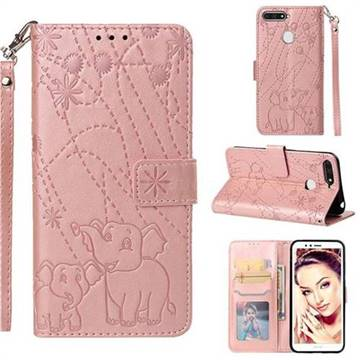 Embossing Fireworks Elephant Leather Wallet Case for Huawei Y6 (2018) - Rose Gold