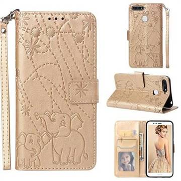 Embossing Fireworks Elephant Leather Wallet Case for Huawei Y6 (2018) - Golden